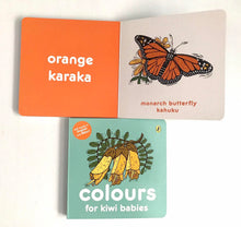 Load image into Gallery viewer, Colours for Kiwi Babies Board Book - Words in English & Maori