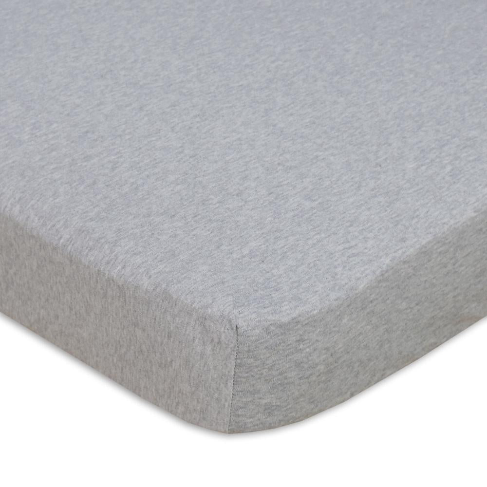 Living Textiles Cot Fitted Sheet - Jersey Grey - 77 x 32cm