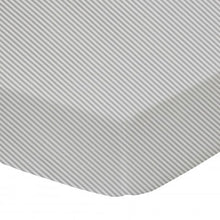 Load image into Gallery viewer, Living Textiles Cot Fitted Sheet - Jersey Grey Stripe - 77 x 32cm