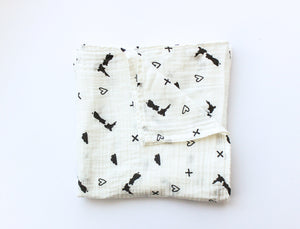 From NZ With Love - Black & White NZ Map Muslin