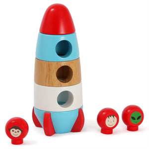 Discoveroo Wooden Magnetic Stacking Rocket