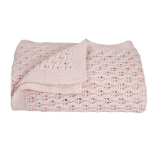 Load image into Gallery viewer, Living Textiles 100% Cotton Lattice Knit Baby Shawl/Blanket - Blush