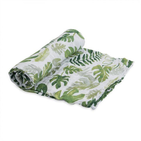 Little Unicorn Cotton Muslin Swaddle - Tropical Leaf