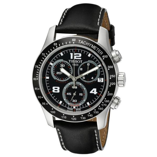 Tissot V8 Quartz Chronograph 43MM Case Watch with Black Dial & Black Leather Strap -T0394171605702