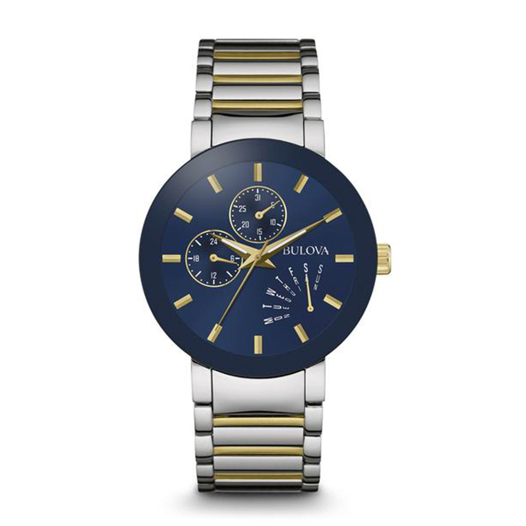 Bulova Men's  Blue Dial Watch with Gold Accents and Two-Tone Stainless Steel Band - 98C123