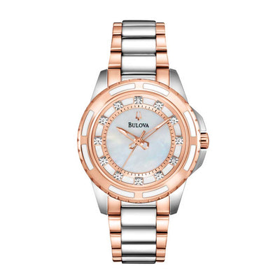 Bulova Classic Collection Ladies' Mother-of-Pearl Dial with Hand-Set Diamonds in Two-Tone Silver & Pink Stainless Steel - 98P134