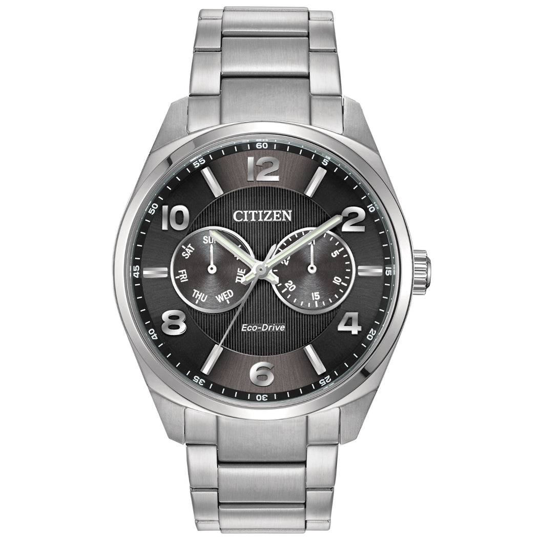 Citizen Corso Men's Modern Black Dial Watch with Date Feature in Stainless Steel-AO9020-84E