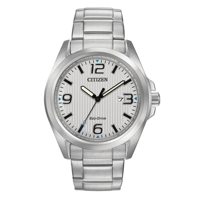 Citizen Chandler Men's Silver Dial Watch with Blue Accents in Stainless Steel - AW1430-86A
