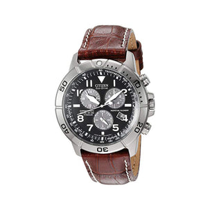 Citizen Men's Eco-Drive Black Chronograph Dial Watch in Stainless Steel with Brown Leather StrapBL5250-02L