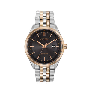 Citizen Corso Men's Modern Eco-Drive Watch with Black Dial & Rose-Tone Accents in Two-Tone Stainless Steel - BM7256-50E