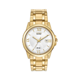 Citizen Men's Corso Eco-Drive Watch with White Dial in Yellow Stainless Steel -BM7262-57A