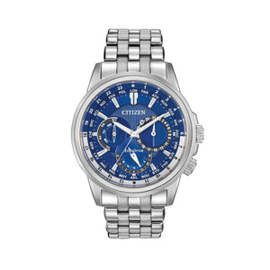 Citizen Calendrier Men's Eco-Drive Watch with Blue Multi-Function Dial in Stainless Steel - BU2021-51L