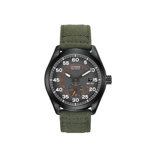 Citizen Men's Chandler Military Inspired Watch with Black Ion-Plated Case and Green Nylon Band-BV1085-22H