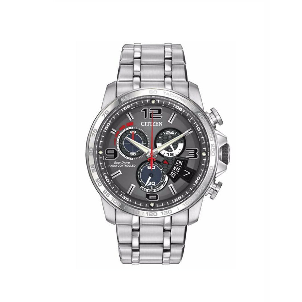 Citizen Men's Chrono Time A-T Eco-Drive Radio Controlled Watch with World Timer in Stainless Steel-BY0100-51H
