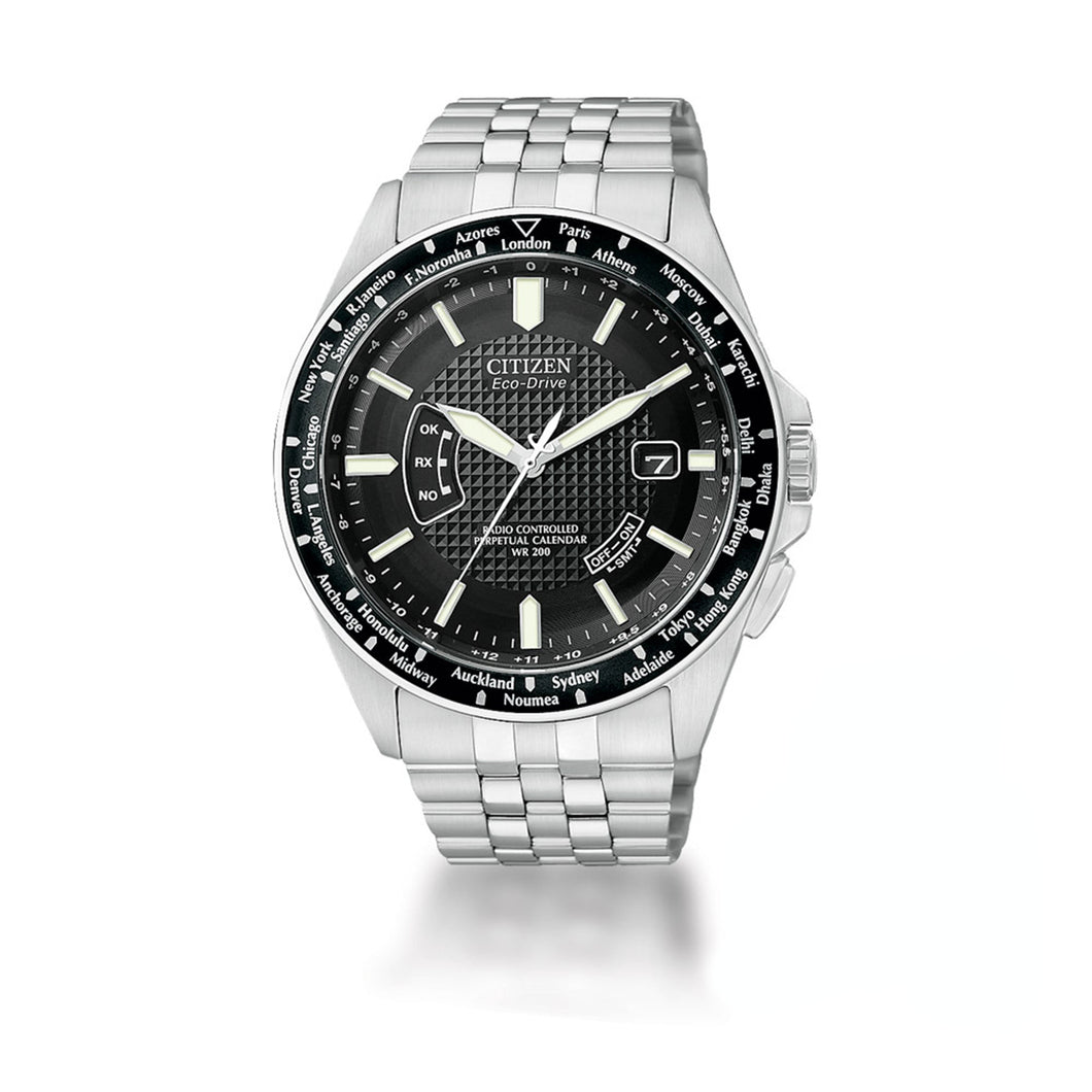 Citizen Men's World Perpetual A-T Radio Controlled Eco-Drive Watch in Stainless Steel -CB0020-50E
