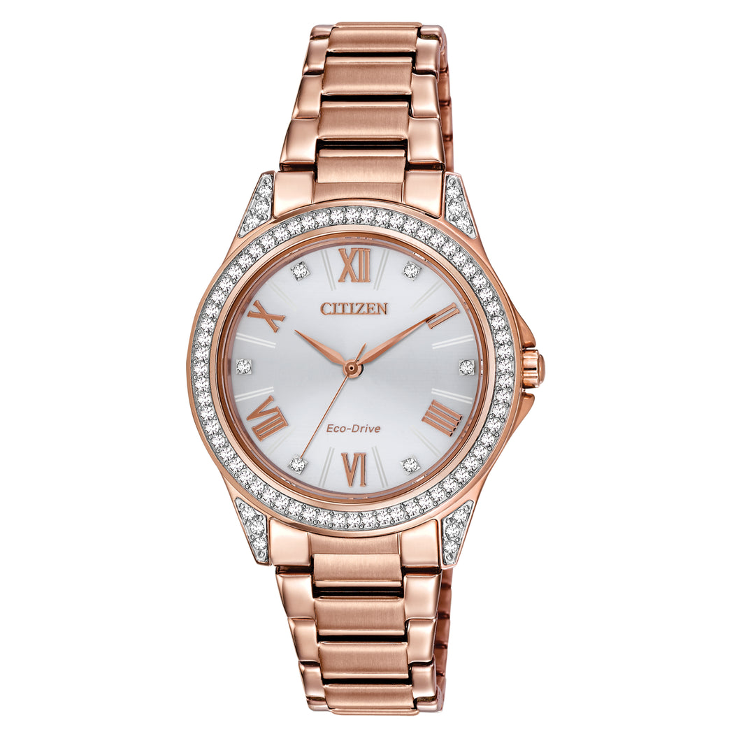Citizen POV-Point of View Ladies'  Swarovski Crystal Embellished Watch with Silver Dial in Rose Gold-Tone Stainless Steel - EM0233-51A-SS
