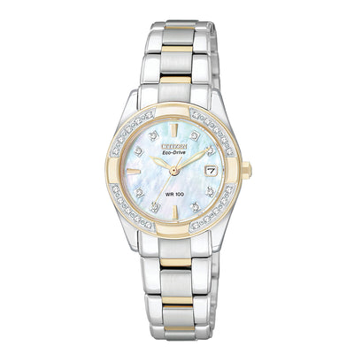 Citizen Ladies' Regent Eco-Drive Watch with Mother of Pearl Dial with Diamond Bezel Accents in Two-Tone Stainless Steel-EW1824-57D
