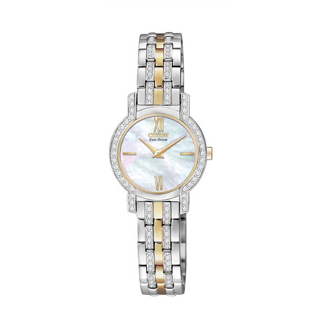 Citizen Silhouette Crystal Ladies' Watch with Mother-of-Pearl Dial and Two-Tone Swarovski Crystal Link Bracelet - EX1244-51D