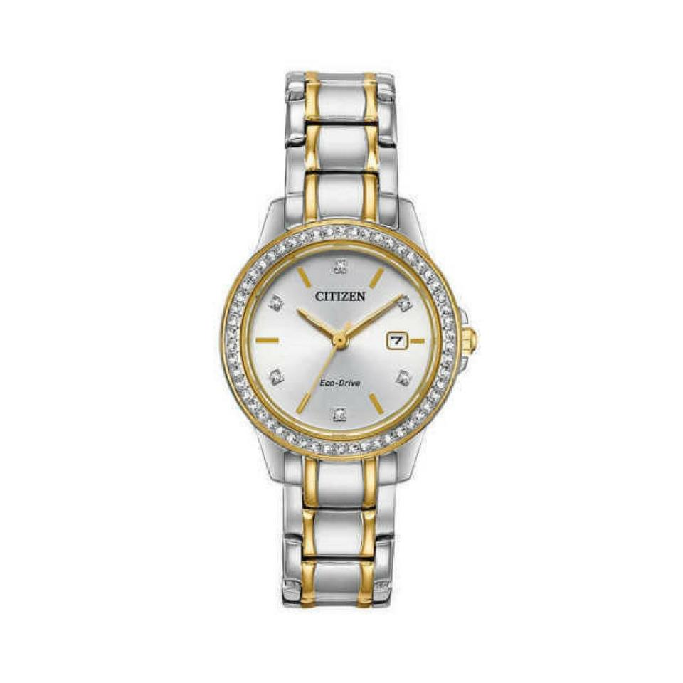Citizen Ladies' Silhouette Crystal Eco-Drive Watch in Two-Tone Stainless Steel- FE2064-52A