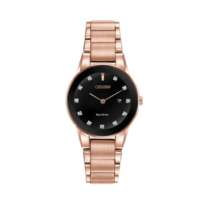 Citizen Axiom Ladies' Trendsetter Watch with Sleek Black Dial & Diamond Hour Markers in Rose Gold-Tone Stainless Steel - GA1058-59Q