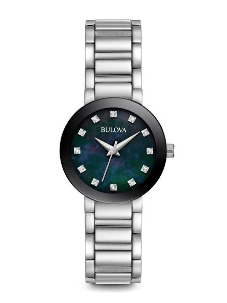Bulova Modern Collection Ladies' Black Mother-of-Pearl Watch with 12 Diamond Dial Accent in Stainless Steel - 96P172