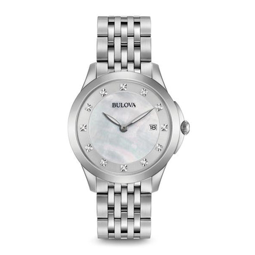 Bulova Classic Collection Ladies' Mother-of-Pearl Dial Watch with 12 Diamond Accents in Stainless Steel - 96P174