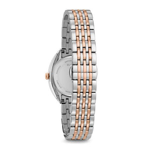 Bulova Classic Collection Ladies' Contoured Case Watch with 24 Diamonds Set in Brown Dial & Case Frame in Two-Tone Stainless Steel  - 98R230
