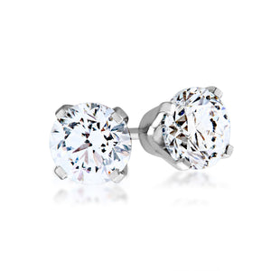 1/2 ct. tw. Round Diamond Solitaire Earrings in 14K White Gold - WHEA50BFRD-AA