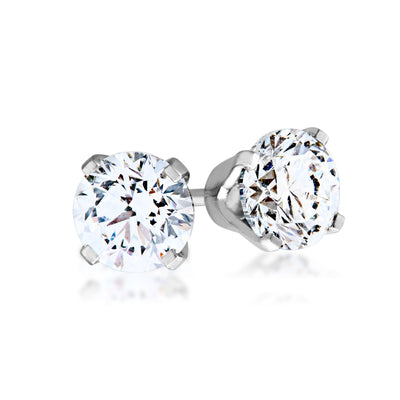 3/4 ct. tw. Round Diamond Solitaire Earrings in 14K White Gold - WHED3075