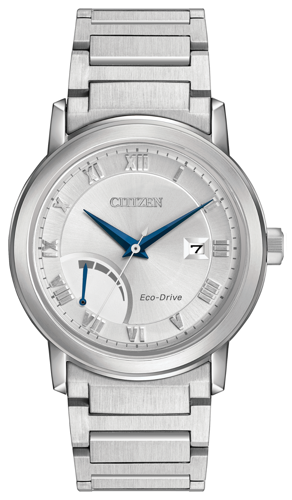 Citizen Men's PRT Eco-Drive Watch with Metal Band Blue Hands in Stainless Steel - AW7020-51A