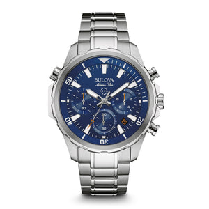 Bulova Marine Star Collection Men's 6 Hand Chronograph Watch with Calendar in a Blue Dial in Stainless Steel - 96B256