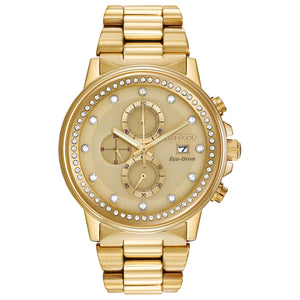 CITIZEN MEN'S CHANDLER STAINLESS STEEL CHRONOGRAPH WATCH WITH SWAROVSKI CRYSTALS AND YELLOW DIAL - FB3002-53P