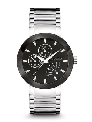 Bulova Modern Collection Men's Multi-Function Watch with Black Enamel Dial &  Retrograde Day Indicator in Stainless Steel - 96C105
