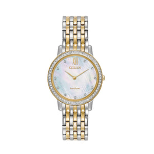 Citizen Silhouette Crystal Collection Ladies' White Mother-of-Pearl Dial Watch with Swarovski Crystal Accents in Two-Tone Stainless Steel - EX1484-57D