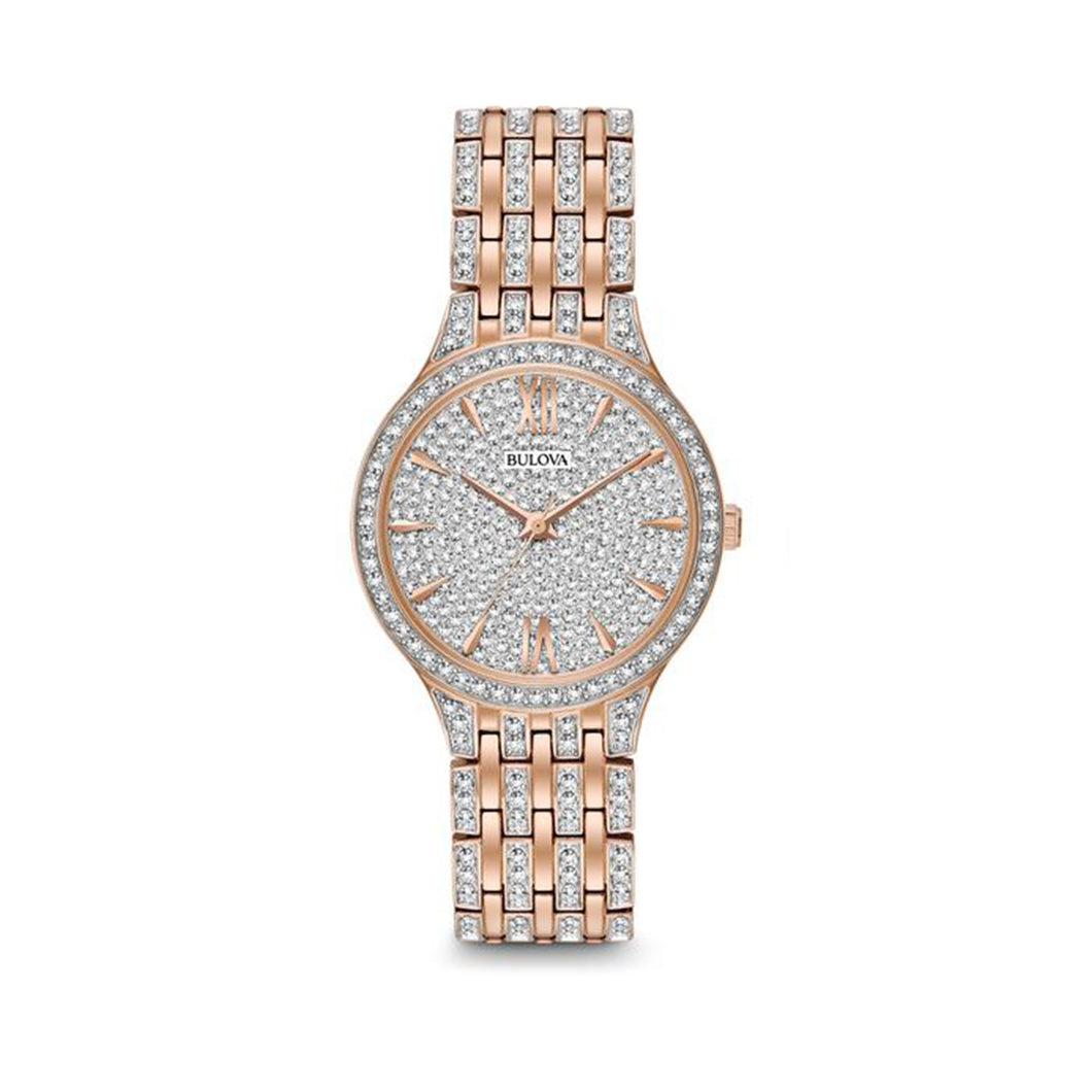 Bulova Crystal Collection Ladies' Swarovski Crystal Embellished Dress Watch in Pink Gold Toned Stainless Steel - 98L235