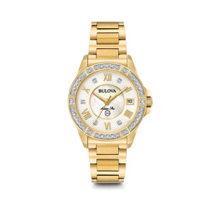 Bulova Marine Star Collection Ladies' White Mother-of-Pearl Inner Dial Watch with Diamond Accent in Gold-Tone Stainless Steel - 98R235