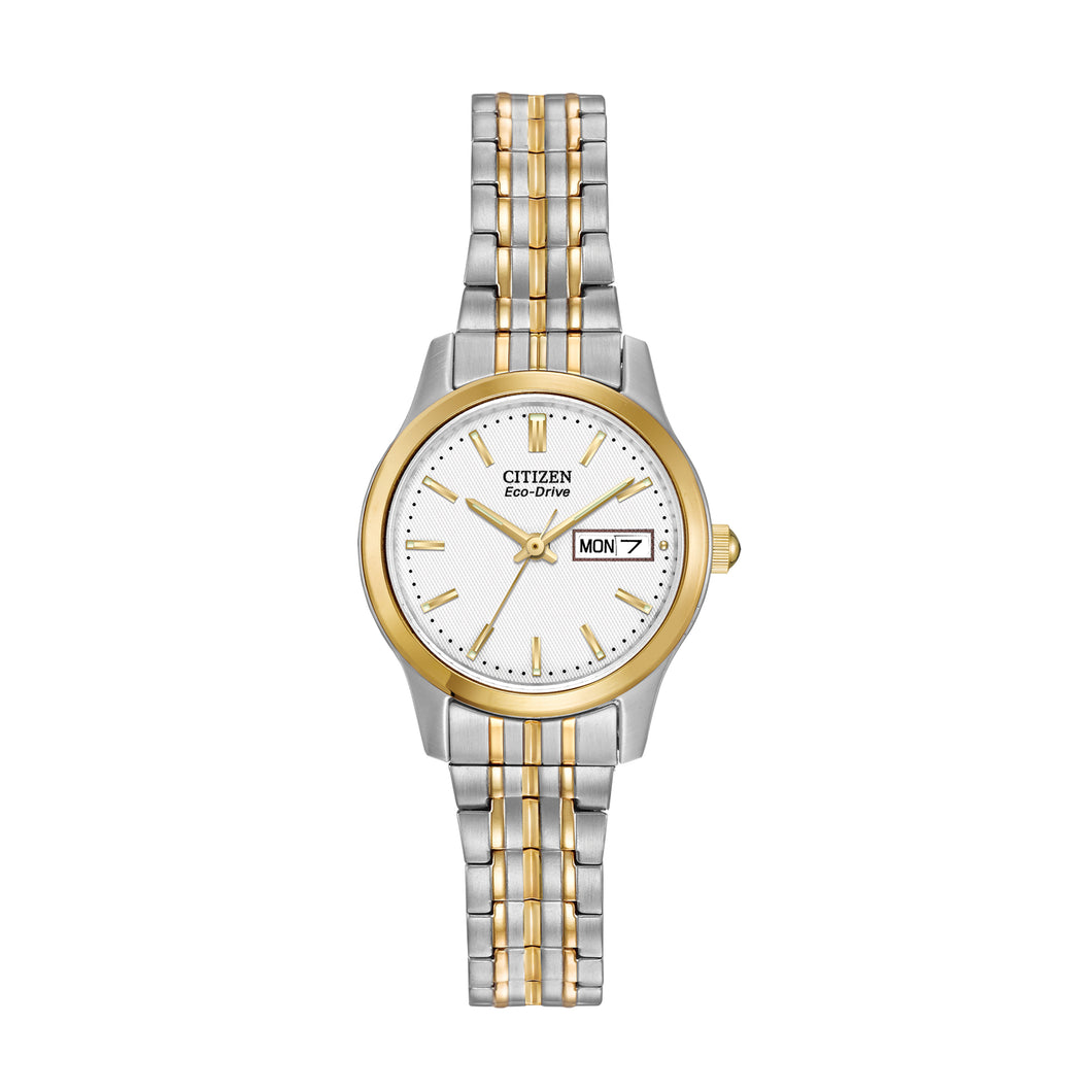 Citizen Ladies' Corso Eco-Drive 3-Hand Analog Watch in Two-Tone Stainless Steel - EW3154-90A