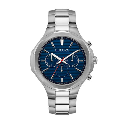 Bulova Dress Collection Men's Blue & Black Patterned Dial Watch in Stainless Steel - 96A200