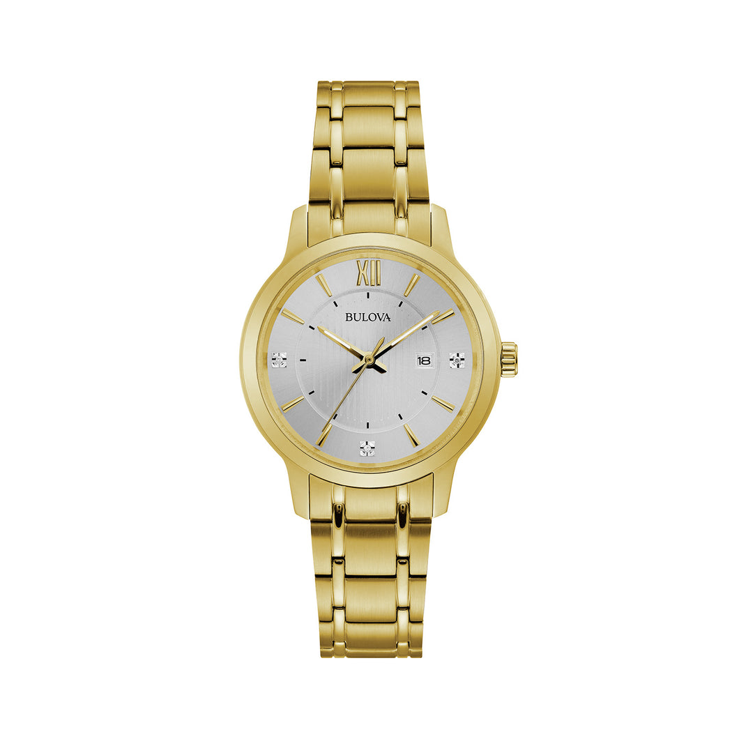 Bulova Dress Collection Ladies' White Polished Dial Watch with Diamond Accents in Told-Toned Stainless Steel - 97P127