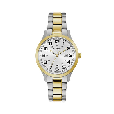 Bulova Dress Collection Ladies' Silver Analogue Face Watch in Two-Tone Silver & Gold Stainless Steel - 98M128