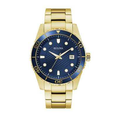 Bulova Sport Collection Men's Dark Blue Dial Watch with Luminous Gold Toned Hands in Gold-Toned Stainless Steel - 98A197