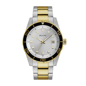 Bulova Dress Collection Men's Silver Dial Watch with Black Top Ring in Two-Tone Stainless Steel - 98A198