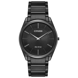 Citizen Stiletto Collection Men's Ultra-Thin Watch with Black Patterned Dial in Black-Tone Stainless Steel - AR3075-51E