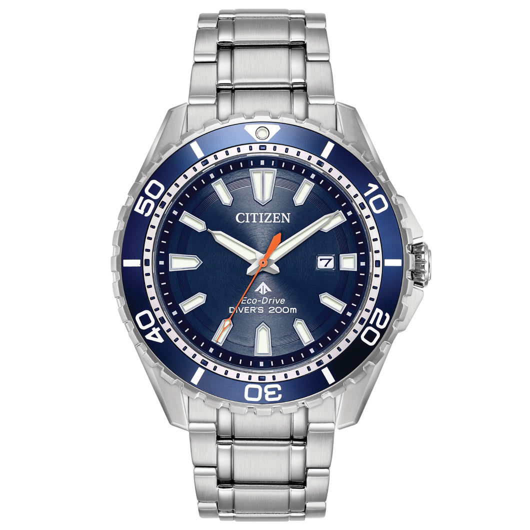 Citizen Promaster Diver Men's Watch with Azure Blue Aluminum Bezel & Dial in Stainless Steel - BN0191-55L