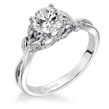 ArtCarved .07 ct. tw. Diamond Accented Round Stone Semi-Mount Engagement Ring with Floral Inspired Split-Shank Band in 14K White Gold - 31-V317DRW-E.00