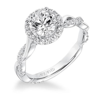 ArtCarved 1/3 ct. tw. Diamond Halo Round Stone Semi-Mount Engagement Ring with Twisted Band in 14K White Gold - 31-V657DRW