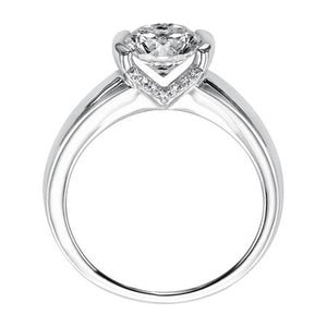 ArtCarved .07 ct. tw. Diamond Undercarriage Bezel Set Semi-Mount Engagement Ring in 14K White Gold - 31-V163ERW