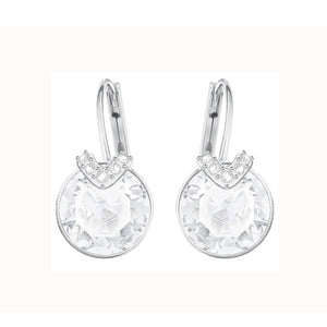 SWAROVSKI 'Bella' V-Shape Crystal Embellished Fashion Earrings in White Rhodium Plating - 5292855