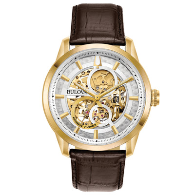 Bulova Men's Sutton Mechanical Watch with Skeletonized Dial and Brown Leather Strap - 97A138