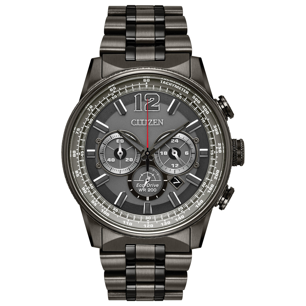 CITIZEN MEN'SCITIZEN MEN'S NIGHTHAWK CHRONOGRAPH GRAY AND BLACK STAINLESS STEEL WATCH WITH GRAY DIAL - CA4377-53HSS STEEL WATCH WITH GRAY DIAL - CA4377-53H